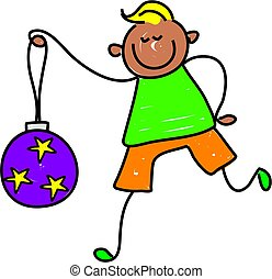 bauble kid - happy little ethnic boy holding a Christmas...