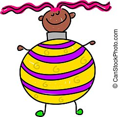 bauble kid - happy little ethnic girl dressed up as a...