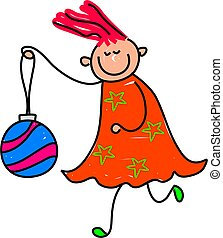 bauble kid - happy little girl holding a Christmas tree...