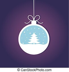 bauble natal, com, árvore natal