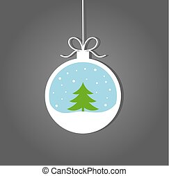 bauble natal, com, inverno, árvore natal