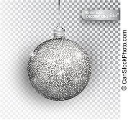 bauble natal, prata, brilhar, isolado, ligado, white.,...
