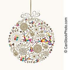 bauble, ouderwetse , kerstmis kaart, groet