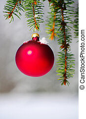 Bauble - red bauble christmas ball ornament outside in a...