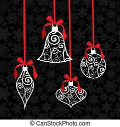 bauble, saudação, fundo, cartão, natal