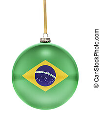 Bauble with the flag design of Brazil.(series)