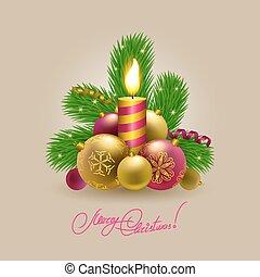 baubles, árvore., natal, fundo
