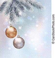 baubles., クリスマス, 背景, vector.