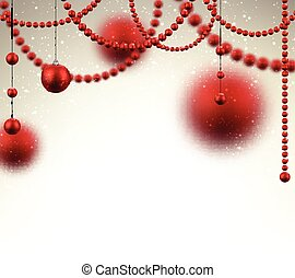 baubles., achtergrond, rood, kerstmis