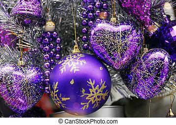 baubles, azul, natal, prata, decoração
