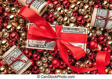 baubles., card., gåva, pengar, topp, tapet, jul, guld, utsikt., röd
