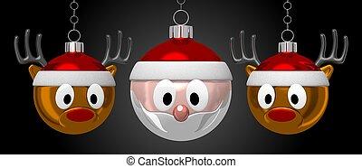baubles, claus, -, rehe, santa, weihnachten