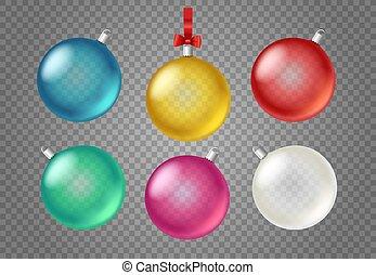 baubles, clipart, isolado, transparente, vidro, vectot, fundo, natal
