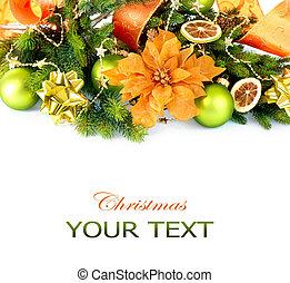baubles, decoraties, jaar, nieuw, kerstmis, lint