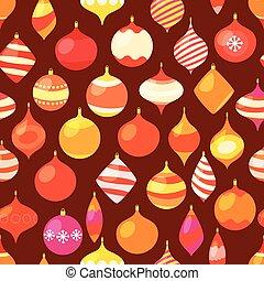 baubles., diferente, padrão, seamless, vetorial, natal