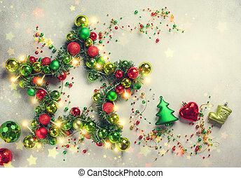 baubles., estrella, navidad