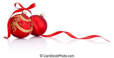 baubles, Freigestellt, schleife, Dekoration, geschenkband, hintergrund, weißes, Weihnachten, rotes