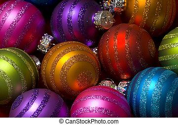 baubles, gelul, of, kerstmis