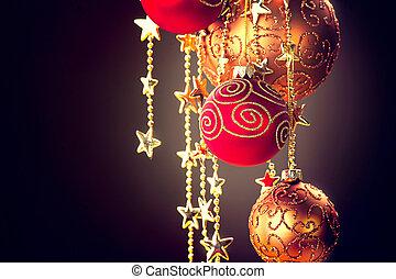 baubles, Girlande, aus, dunkel, hintergrund, hängender, Weihnachten