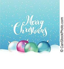 baubles, groet, snow., glas, kerstmis kaart