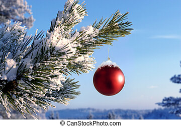 Baubles hanging on a christmas tree covered with