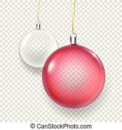 baubles, isolado, ilustração, natal, vidro, vetorial, fundo, branca, transparente, vermelho, brilhar