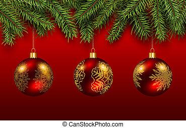 baubles, kerstmis, goud, rood