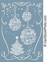 baubles., kerstmis, vector, achtergrond, hangend, sneeuwvlok
