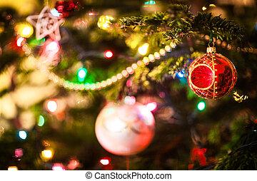 baubles, ligado, árvore natal