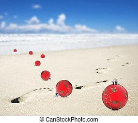 baubles natal, ligado, um, praia, com, pegadas