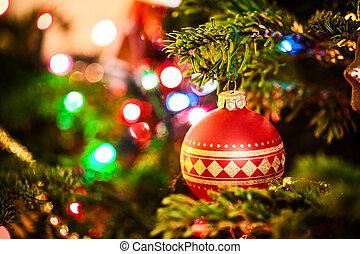 baubles, op, kerstboom