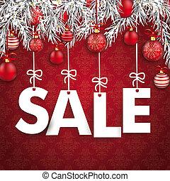 baubles, ramos, venda, ornamentos, natal