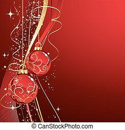 baubles, rood, illustration., achtergrond, kerstmis