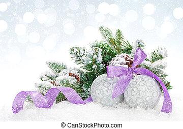 baubles, roxo, sobre, neve, bokeh, fundo, natal, fita