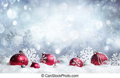 baubles, -, sneeuwval, rood, kerstmis kaart, snowflakes