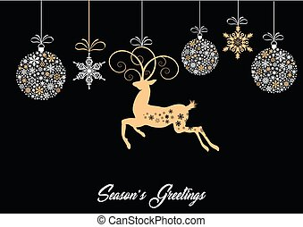 Baubles snowflakes and reindeer card