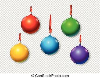 baubles, voorwerpen, set., vrijstaand, kerstmis, vector, achtergrond, transparant