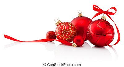 baubles, vrijstaand, boog, versiering, lint, achtergrond, witte kerst, rood