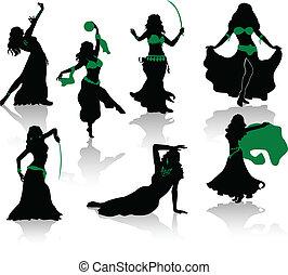 bauch, dance., silhouetten, von, schoenheit