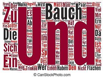 Bauch muss weg text background wordcloud concept