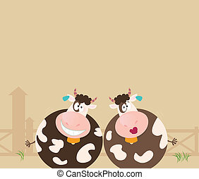 bauernhof, animals:, zwei, glücklich, kühe