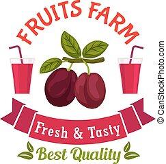 bauernhof, blätter, früchte, pflaumen, stamm