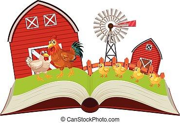 bauernhof, buch, hühner, auf, knall