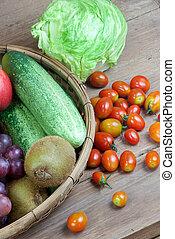 bauernhof frisch, gemuese, und, früchte