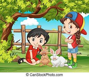 bauernhof, mädels, kaninchen, spielende