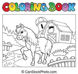 bauernhof, pferd, farbton- buch