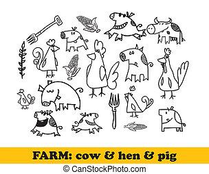 bauernhof, satz, -, kühe, hennen, schweine