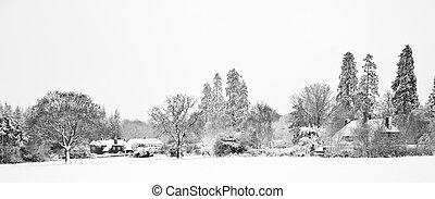 bauernhof, schnee, schwarz, weißes, winterr, landschaftsbild