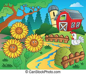 bauernhof, thema, sonnenblumen