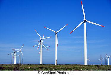 bauernhof, turbinen, energie, -, quelle, alternative, wind